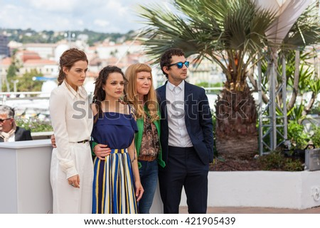 Cannes, France - 15 MAY 2016 - Actresses Riley Keough, Sasha Lane, director Andrea Arnold and actor Shia LaBeouf attend the 'American Honey' photocall during the 69th annual Cannes Film Festival - stock photo