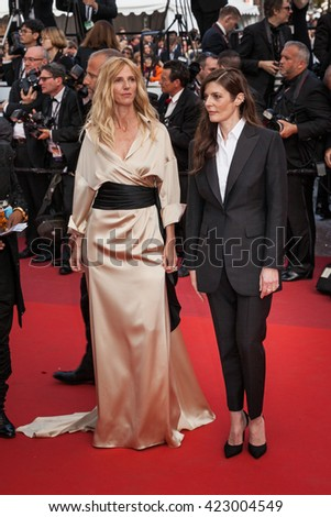 Cannes, France - 18 MAY 2016 - Actresses Sandrine Kiberlain and Chiara Mastroianni attend 'The Unknown Girl (La Fille Inconnue)' Premiere during the 69th annual Cannes Film Festival - stock photo