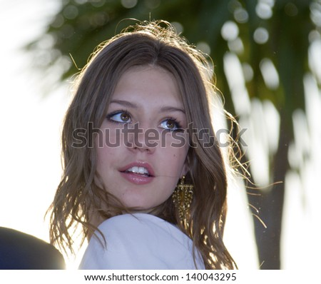CANNES, FRANCE - MAY 26: Adele Exarchopoulos attends the Palme D'Or Winners Photocall during the 66th  Cannes Film Festival at the Palais des Festivals on May 26, 2013 in Cannes, France. - stock photo