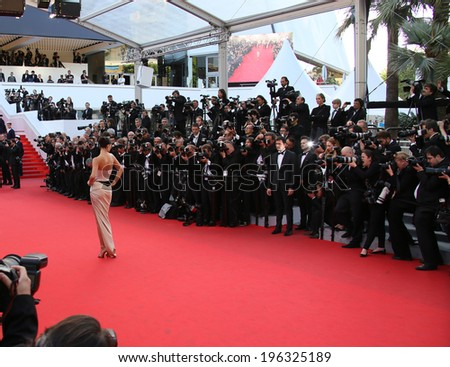 CANNES, FRANCE - MAY 18: Adriana Lima attends 'The Homesman' premiere during the 67th Annual Cannes Film Festival on May 18, 2014 in Cannes, France. - stock photo