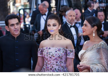 Cannes, France - 15 MAY 2016 - Aishwarya Rai attends the 'From The Land Of The Moon (Mal De Pierres)' premiere during the 69th annual Cannes Film Festival - stock photo