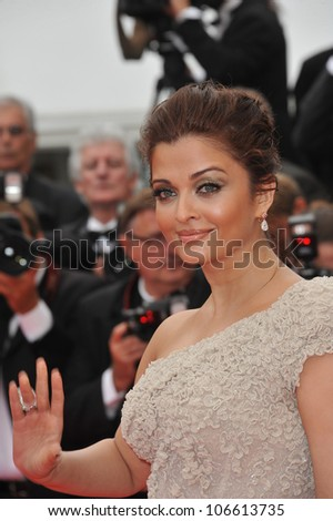 """CANNES, FRANCE - MAY 11, 2011: Aishwarya Rai Bachchan at the gala premiere for """"Midnight in Paris"""" the opening film at the 64th Festival de Cannes. May 11, 2011  Cannes, France - stock photo"""