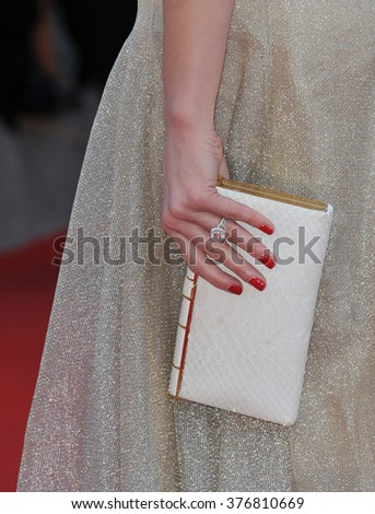"""CANNES, FRANCE - MAY 20, 2014: Amber Heard's engagement ring from fianc���½ Johnny Depp at the gala premiere of """"Two Days, One Night"""" at the 67th Festival de Cannes. - stock photo"""