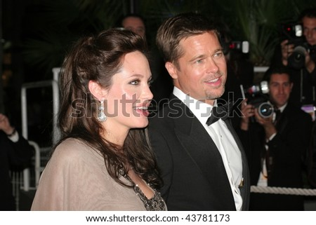 CANNES, FRANCE - MAY 20: Angelina Jolie and  Brad Pitt attend the 'Changeling' premiere at the Palais des Festivals during the 61st Cannes International Film Festival in Cannes, France. - stock photo