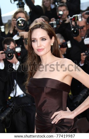 CANNES, FRANCE - MAY 16: Angelina Jolie attends 'The Tree Of Life' premiere during the 64th Annual Cannes Film Festival at Palais des Festivals on May 16, 2011 in Cannes, France.