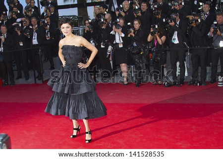 CANNES, FRANCE - MAY 25: Audrey Tautou arrives at 'Venus In Fur' Premiere during the 66th Annual Cannes Film Festival at Grand Theatre Lumiere on May 25, 2013 in Cannes, France. - stock photo