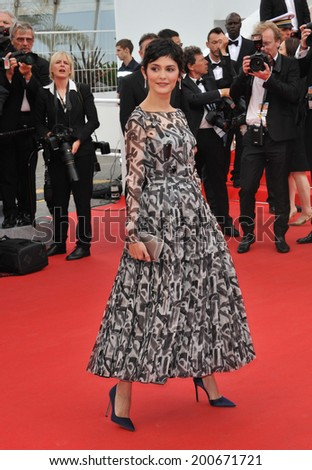 "CANNES, FRANCE - MAY 14, 2014: Audrey Tautou at the gala premiere of ""Grace of Monaco"" at the 67th Festival de Cannes.  - stock photo"