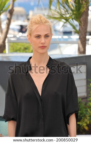 "CANNES, FRANCE - MAY 17, 2014: Aymeline Valade at photo call for her movie ""Saint-Laurent"" at the 67th Festival de Cannes."