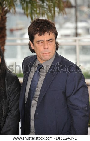 "CANNES, FRANCE - MAY 18, 2013: Benicio Del Toro at the photocall for his movie ""Jimmy P. Psychotherapy of a Plains Indian"" in competition at the 66th Festival de Cannes."