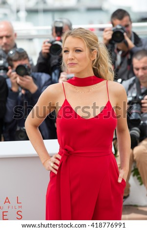 CANNES, FRANCE - MAY 11: Blake Lively attends the 'Cafe Society' photocall during the 69th annual Cannes Film Festival at Palais des Festivals on May 11, 2016 in Cannes, France - stock photo