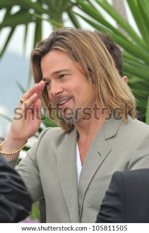 "CANNES, FRANCE - MAY 22, 2012: Brad Pitt at photocall for his new movie ""Killing Them Softly"" in competition at the 65th Festival de Cannes. May 22, 2012  Cannes, France - stock photo"