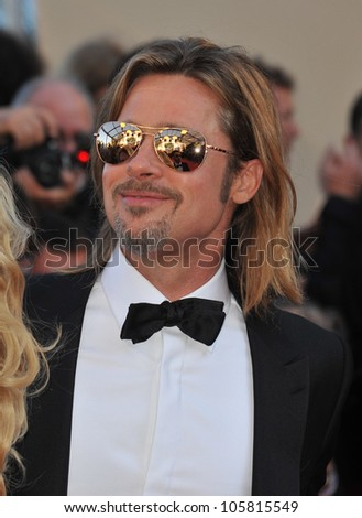 "CANNES, FRANCE - MAY 22, 2012: Brad Pitt at the gala screening of his new movie ""Killing Them Softly"" in competition at the 65th Festival de Cannes. May 22, 2012  Cannes, France - stock photo"