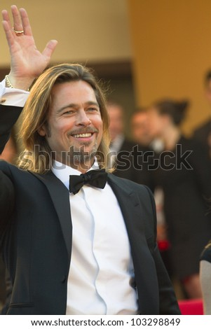 CANNES, FRANCE - MAY 22: Brad Pitt attends the 'Killing Them Softly' Premiere during 65th Annual Cannes Film Festival at Palais des Festivals on May 22, 2012 in Cannes, France. - stock photo