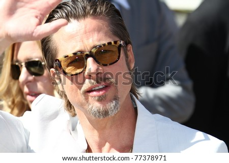 CANNES, FRANCE - MAY 16: Brad Pitt attends 'The Tree Of Life' photocall during the 64th Annual Cannes Film Festival at Palais des Festivals on May 16, 2011 in Cannes, France - stock photo