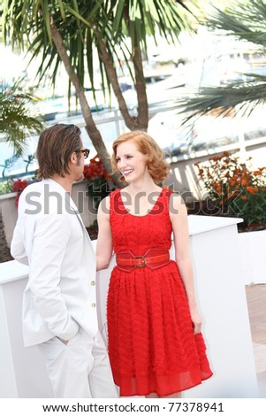 CANNES, FRANCE - MAY 16: Brad Pitt, Jessica Chastain  attend 'The Tree Of Life' photocall during the 64th Annual Cannes Film Festival at Palais des Festivals on May 16, 2011 in Cannes, France - stock photo