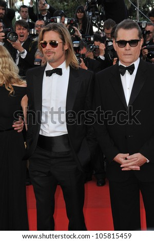 "CANNES, FRANCE - MAY 22, 2012: Brad Pitt & Ray Liotta at the gala screening of their new movie ""Killing Them Softly"" in competition at the 65th Festival de Cannes. May 22, 2012  Cannes, France - stock photo"