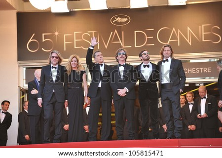 "CANNES, FRANCE - MAY 22, 2012: Brad Pitt, Ray Liotta & director Andrew Dominik at the premiere of ""Killing Them Softly"" in competition at the 65th Festival de Cannes. May 22, 2012  Cannes, France - stock photo"
