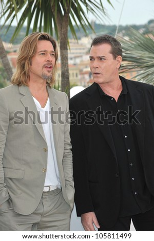 "CANNES, FRANCE - MAY 22, 2012: Brad Pitt & Ray Liotta (right) at photocall for their new movie ""Killing Them Softly"" in competition at the 65th Festival de Cannes. May 22, 2012  Cannes, France - stock photo"