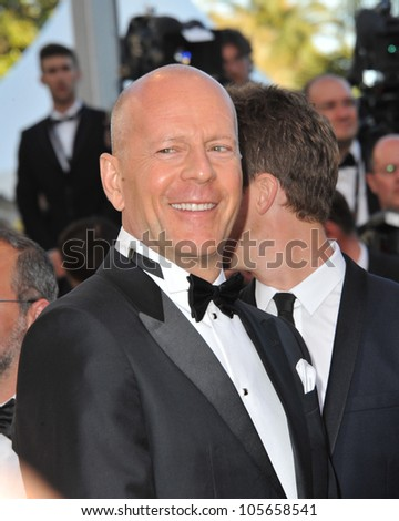 """CANNES, FRANCE - MAY 16, 2012: Bruce Willis at the premiere of his movie """"Moonrise Kingdom"""" - the gala opening movie at the 65th Festival de Cannes. May 16, 2012  Cannes, France - stock photo"""