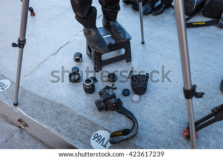 Cannes, France - 19 MAY 2016 - camera man's still life on the red carpet during the 69th annual Cannes Film Festival