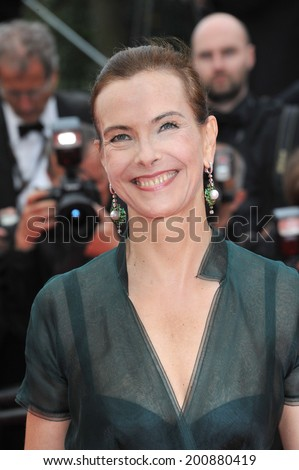 "CANNES, FRANCE - MAY 19, 2014: Carole Bouquet at the gala premiere of Foxcatcher"" at the 67th Festival de Cannes."