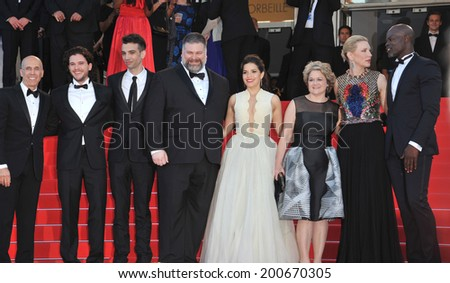 "CANNES, FRANCE - MAY 16, 2014: Cate Blanchett, America Ferrera, Djimon Hounsou, Kit Harington, Jay Baruchel, Dean Deblois, Jeffrey Katzenberg & Bonnie Arnold at prem. of ""How To Train Your Dragon 2""  - stock photo"