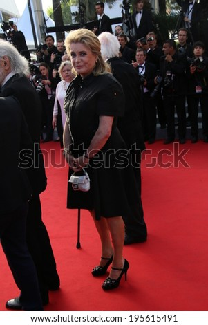 CANNES, FRANCE - MAY 23:  Catherine Deneuve attend the 'Clouds Of Sils Maria' premiere at the 67th Annual Cannes Film Festival on May 23, 2014 in Cannes, France. - stock photo