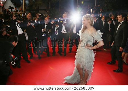 CANNES, FRANCE - MAY 23: Chloe Grace Moretz attends the 'Clouds Of Sils Maria' premiere at the 67th Annual Cannes Film Festival on May 23, 2014 in Cannes, France. - stock photo