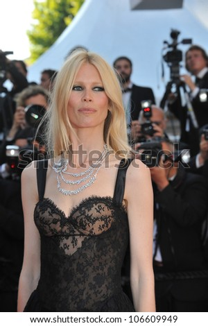 "CANNES, FRANCE - MAY 20, 2011: Claudia Schiffer at the premiere of ""This Must Be The Place"" in competition at the 64th Festival de Cannes. May 20, 2011  Cannes, France"