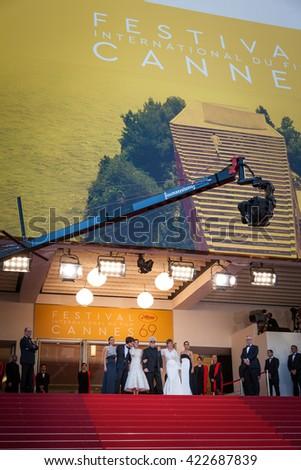 Cannes, France - 17 MAY 2016 - Daniel Grao, Emma Suarez, Pedro Almodovar, Adriana Ugarte and Inma Cuesta attend the 'Julieta' premiere during the 69th annual Cannes Film Festival - stock photo