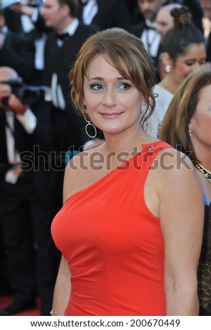 "CANNES, FRANCE - MAY 15, 2014: Daniela Lumbroso at the premiere of ""Mr. Turner"" at the 67th Festival de Cannes."