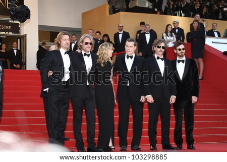 CANNES, FRANCE - MAY 22: Dede Gardner, Andrew Dominik, Ray Liotta and Brad Pitt attends the 'Killing Them Softly' Premiere during 65th Cannes Festival at Palais on May 22, 2012 in Cannes, France. - stock photo