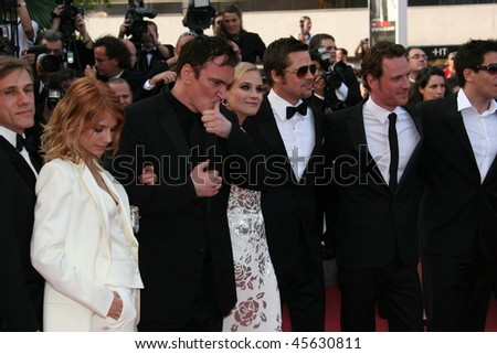 CANNES, FRANCE - MAY 20: Diane Kruger, Brad Pitt, Michael Fassbender,  Tarantino, Melanie Laurent attend the Inglourious Basterds during the 62nd Cannes  Festival on May 20, 2009 in Cannes, France - stock photo