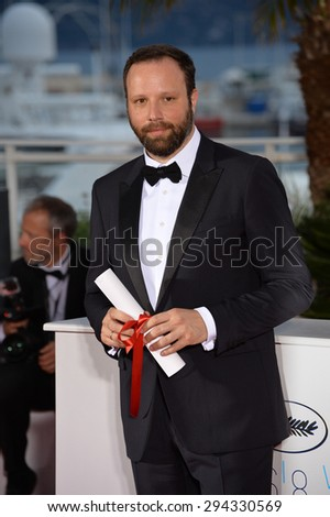 CANNES, FRANCE - MAY 24, 2015: Director Yorgos Lanthimos - winner of the Jury Prize - at the winners' photocall at the 68th Festival de Cannes. - stock photo