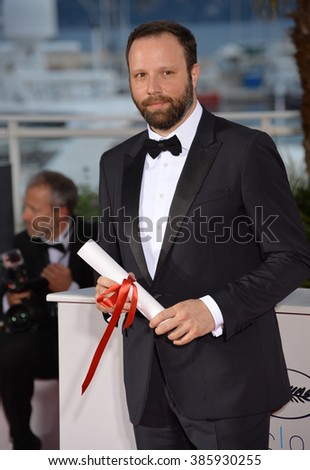CANNES, FRANCE - MAY 24, 2015: Director Yorgos Lanthimos - winner of the Jury Prize - at the winners' photocall at the 68th Festival de Cannes.