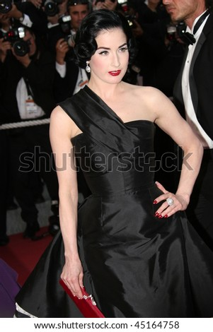 CANNES, FRANCE - MAY 20: Dita von Teese attends the Inglourious Basterds premiere held at the Palais Des Festivals during the 62nd International Cannes Film Festival on May 20, 2009 in Cannes, France