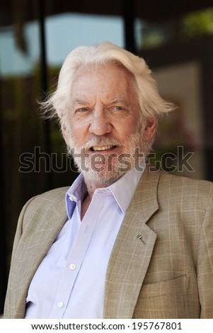CANNES, FRANCE - MAY 17: Donald Sutherland attends 'The Hunger Games: Mockingjay Part 1' Photocall - at the 67th Annual Cannes Film Festival on May 17, 2014 in Cannes, France - stock photo