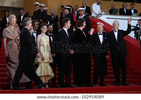 CANNES, FRANCE - MAY 16: Edward Norton, Bruce Willis, Tilda Swinton and Wes Anderson attend opening ceremony  during the 65th  Cannes Film Festival at Palais  on May 16, 2012 in Cannes, France. - stock photo
