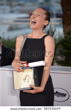 CANNES, FRANCE - MAY 24, 2015: Emmanuelle Bercot - joint winner of the Best Actress Award - at the winners' photocall at the 68th Festival de Cannes. - stock photo