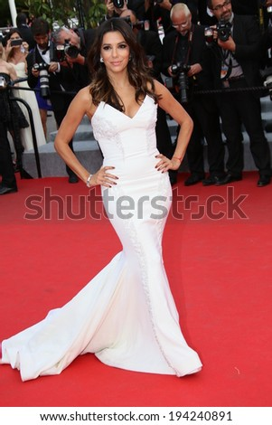 CANNES, FRANCE - MAY 17: Eva Longoria attends the 'Saint Laurent' premiere at the 67th Annual Cannes Film Festival on May 17, 2014 in Cannes, France. - stock photo