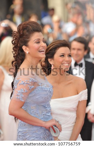"""CANNES, FRANCE - MAY 12, 2010: Eva Longoria Parker & Aishwarya Rai Bachchan (left)  at the premiere of """"Robin Hood"""" the opening film at the 63rd Festival de Cannes. - stock photo"""