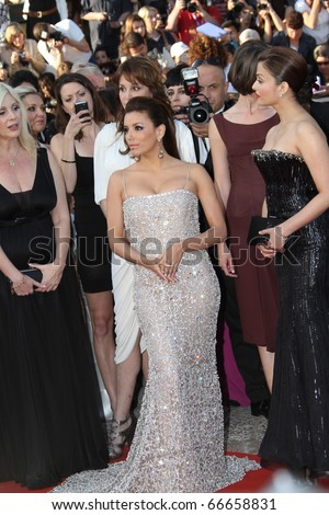 CANNES, FRANCE - MAY 13: Eva Longoria Parker and Aishwarya Rai attend the Premiere of 'On Tour' at the Palais during the 63rd Cannes Festival on May 13, 2010 in Cannes, France. - stock photo