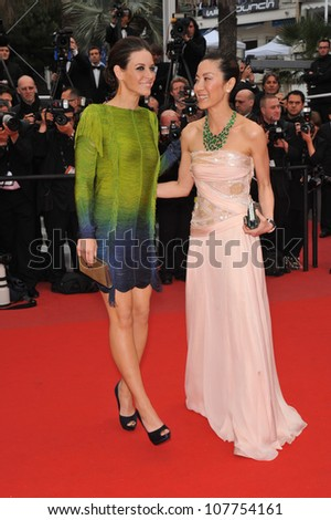 "CANNES, FRANCE - MAY 15, 2010: Evangeline Lilly & Michelle Yeoh at the premiere of Woody Allen's ""You Will Meet A Tall Dark Stranger"" at the 63rd Festival de Cannes."