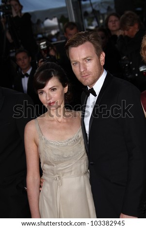 CANNES, FRANCE - MAY 23: Eve Mavraki and Ewan McGregor attends the 'On The Road' Premiere during the 65th Annual Cannes Film Festival at Palais des Festivals on May 23, 2012 in Cannes, France. - stock photo