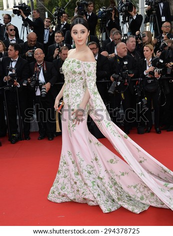 CANNES, FRANCE - MAY 13, 2015: Fan Bingbing at the gala opening ceremony of the 68th Festival de Cannes. - stock photo