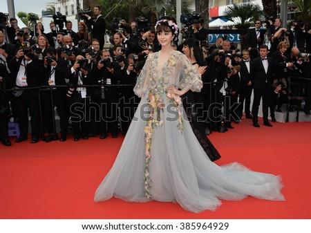 "CANNES, FRANCE - MAY 14, 2015: Fan Bingbing at the gala premiere of ""Mad Max: Fury Road"" at the 68th Festival de Cannes. - stock photo"