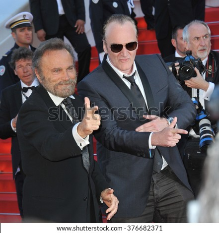 CANNES, FRANCE - MAY 24, 2014: Franco Nero & Quentin Tarantino at the gala awards ceremony at the 67th Festival de Cannes. - stock photo