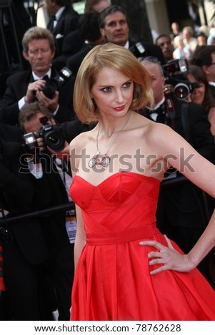CANNES, FRANCE - MAY 13: Frederique Bel   arrives at the 'Habemus Papam' premiere during the 64th Annual Cannes Film Festival at the Palais des Festivals on May 13, 2011 in Cannes, France