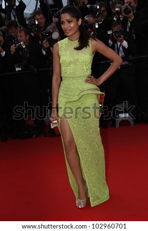 CANNES, FRANCE - MAY 17: Freida Pinto attends the 'De Rouille et D'os' Premiere during the 65th  Cannes Film Festival at Palais des Festivals on May 17, 2012 in Cannes, France. - stock photo
