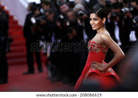 CANNES, FRANCE - MAY 18: Freida Pinto attends 'The Homesman' premiere at the 67th Cannes Film Festival on May 18, 2014 in Cannes, France.  - stock photo
